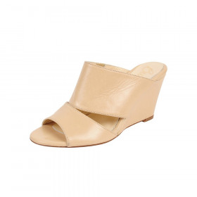Pedro Nude Leather Butter Wedge Slide Sandal