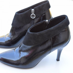 Rula Black Patent and Suede Donald Pliner Ankle Boot