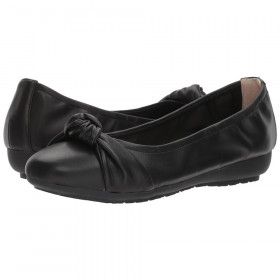 Me Too Women's Jaci Black Leather Perforated Ballerina Flat