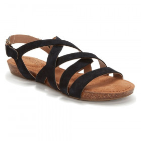Nickie Black Adam Tucker Leather Flat Sandal
