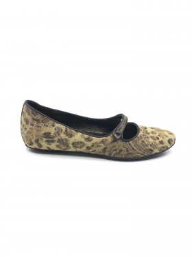 Henna 2 Leopard Fabric and Leather Donald Pliner Mary Janes Flats