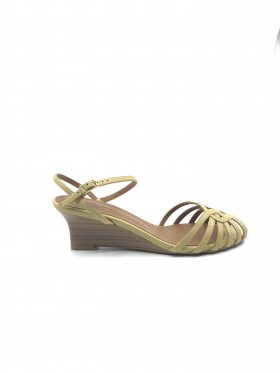 Mariana by Golc Women's Hadie Mustard Leather Wedge Sandal