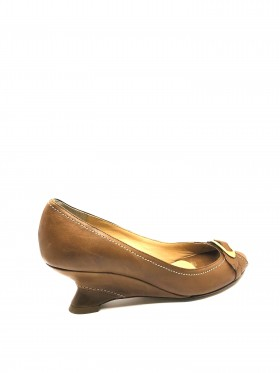 Elena Noce Tan Leather Claudia Ciuti Wedge Pumps