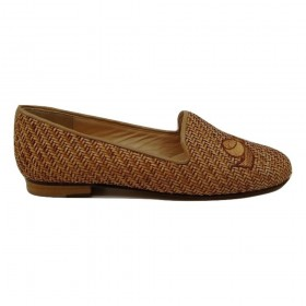 Gatsby Natural Raffia Bow Jon Josef Loafer Flat