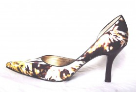 Catherine Black Fabric Floral Satin d'Orsay Anne Klein Pumps