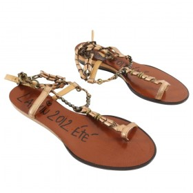 Lanvin Spring 2012 Flat copper Chain Strap Sandals