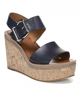 Polly Navy Leather Franco Sarto Wedge Sandals